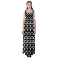 Scales3 Black Marble & Gray Metal 2 Empire Waist Maxi Dress