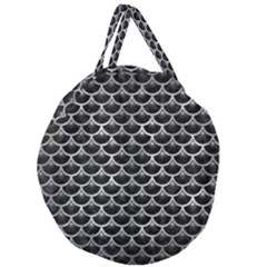 Scales3 Black Marble & Gray Metal 2 Giant Round Zipper Tote