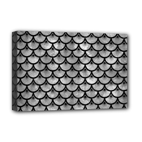 Scales3 Black Marble & Gray Metal 2 (r) Deluxe Canvas 18  X 12