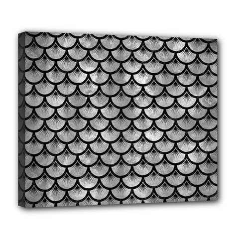 Scales3 Black Marble & Gray Metal 2 (r) Deluxe Canvas 24  X 20