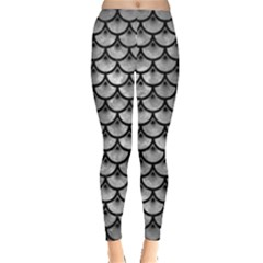 Scales3 Black Marble & Gray Metal 2 (r) Leggings