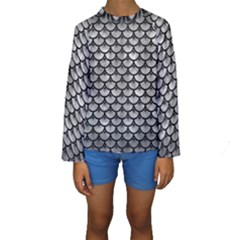 Scales3 Black Marble & Gray Metal 2 (r) Kids  Long Sleeve Swimwear