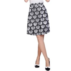 Scales3 Black Marble & Gray Metal 2 (r) A Line Skirt