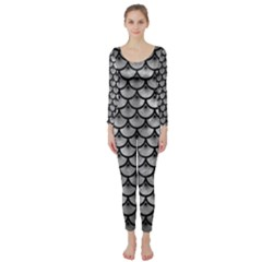Scales3 Black Marble & Gray Metal 2 (r) Long Sleeve Catsuit