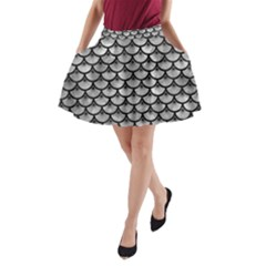 Scales3 Black Marble & Gray Metal 2 (r) A Line Pocket Skirt