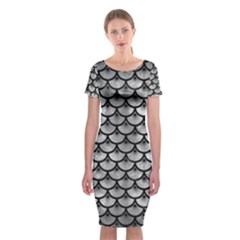 Scales3 Black Marble & Gray Metal 2 (r) Classic Short Sleeve Midi Dress