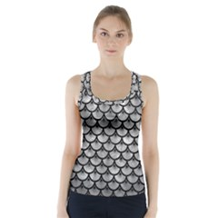 Scales3 Black Marble & Gray Metal 2 (r) Racer Back Sports Top