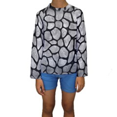 Skin1 Black Marble & Gray Metal 2 Kids  Long Sleeve Swimwear