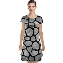 Skin1 Black Marble & Gray Metal 2 Cap Sleeve Nightdress