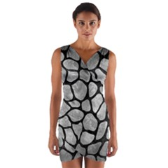 Skin1 Black Marble & Gray Metal 2 Wrap Front Bodycon Dress