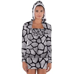 Skin1 Black Marble & Gray Metal 2 Long Sleeve Hooded T Shirt