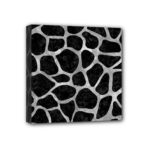 Skin1 Black Marble & Gray Metal 2 (r) Mini Canvas 4  X 4