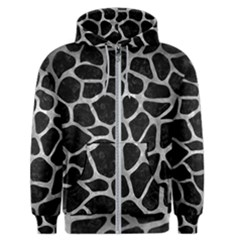 Skin1 Black Marble & Gray Metal 2 (r) Men s Zipper Hoodie
