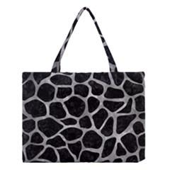 Skin1 Black Marble & Gray Metal 2 (r) Medium Tote Bag
