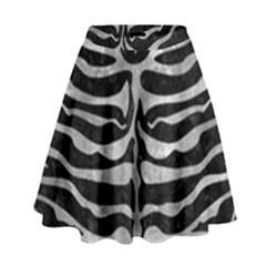 Skin2 Black Marble & Gray Metal 2 High Waist Skirt