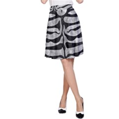 Skin2 Black Marble & Gray Metal 2 (r) A Line Skirt