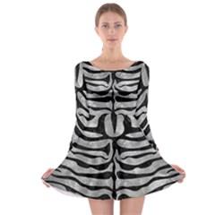 Skin2 Black Marble & Gray Metal 2 (r) Long Sleeve Skater Dress