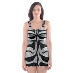 Skin2 Black Marble & Gray Metal 2 (r) Skater Dress Swimsuit