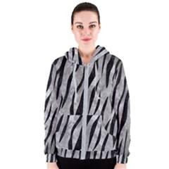 Skin3 Black Marble & Gray Metal 2 (r) Women s Zipper Hoodie