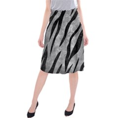 Skin3 Black Marble & Gray Metal 2 (r) Midi Beach Skirt