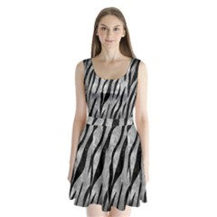 Skin3 Black Marble & Gray Metal 2 (r) Split Back Mini Dress