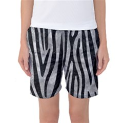 Skin4 Black Marble & Gray Metal 2 Women s Basketball Shorts
