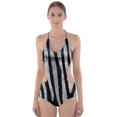 Skin4 Black Marble & Gray Metal 2 (r) Cut Out One Piece Swimsuit