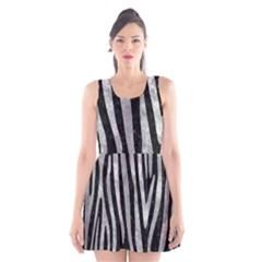 Skin4 Black Marble & Gray Metal 2 (r) Scoop Neck Skater Dress
