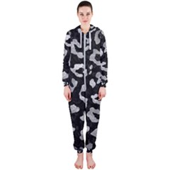 Skin5 Black Marble & Gray Metal 2 (r) Hooded Jumpsuit (ladies)