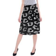 Skin5 Black Marble & Gray Metal 2 (r) Midi Beach Skirt