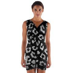 Skin5 Black Marble & Gray Metal 2 (r) Wrap Front Bodycon Dress