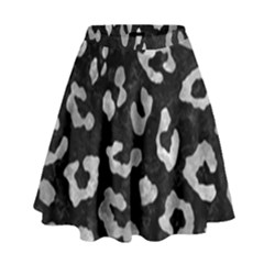 Skin5 Black Marble & Gray Metal 2 (r) High Waist Skirt