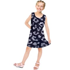 Skin5 Black Marble & Gray Metal 2 (r) Kids  Tunic Dress