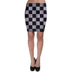 Square1 Black Marble & Gray Metal 2 Bodycon Skirt