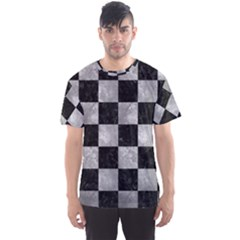 Square1 Black Marble & Gray Metal 2 Men s Sports Mesh Tee
