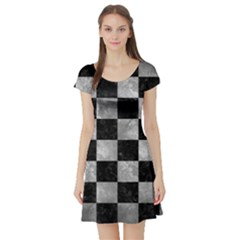 Square1 Black Marble & Gray Metal 2 Short Sleeve Skater Dress