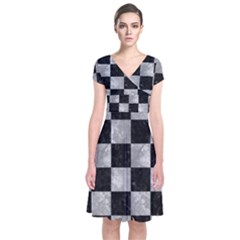 Square1 Black Marble & Gray Metal 2 Short Sleeve Front Wrap Dress