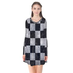 Square1 Black Marble & Gray Metal 2 Flare Dress