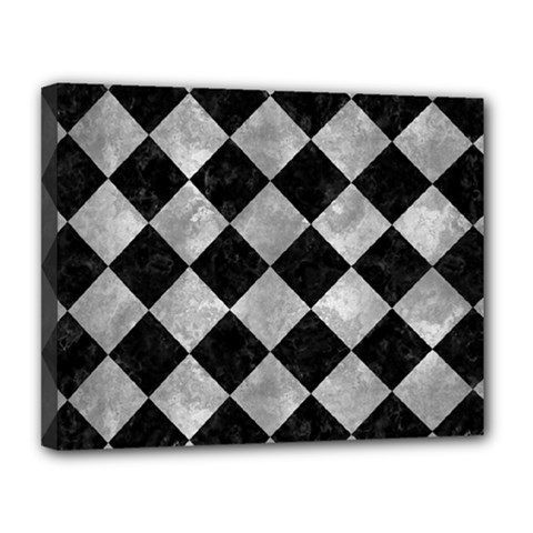 Square2 Black Marble & Gray Metal 2 Canvas 14  X 11