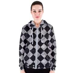 Square2 Black Marble & Gray Metal 2 Women s Zipper Hoodie