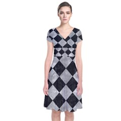 Square2 Black Marble & Gray Metal 2 Short Sleeve Front Wrap Dress