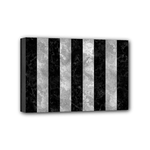 Stripes1 Black Marble & Gray Metal 2 Mini Canvas 6  X 4