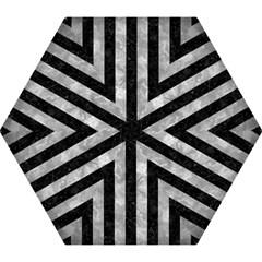 Stripes1 Black Marble & Gray Metal 2 Mini Folding Umbrellas