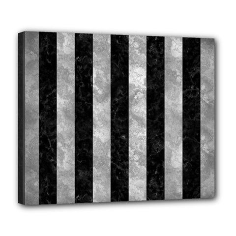 Stripes1 Black Marble & Gray Metal 2 Deluxe Canvas 24  X 20