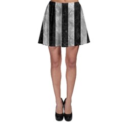 Stripes1 Black Marble & Gray Metal 2 Skater Skirt