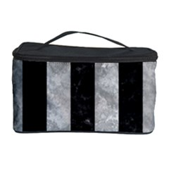 Stripes1 Black Marble & Gray Metal 2 Cosmetic Storage Case