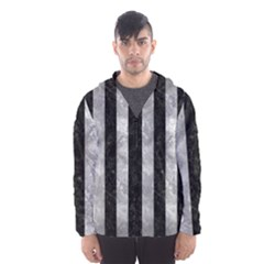 Stripes1 Black Marble & Gray Metal 2 Hooded Wind Breaker (men)