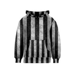 Stripes1 Black Marble & Gray Metal 2 Kids  Pullover Hoodie