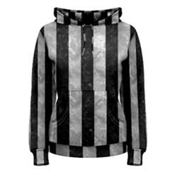 Stripes1 Black Marble & Gray Metal 2 Women s Pullover Hoodie