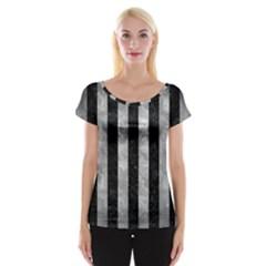 Stripes1 Black Marble & Gray Metal 2 Cap Sleeve Tops